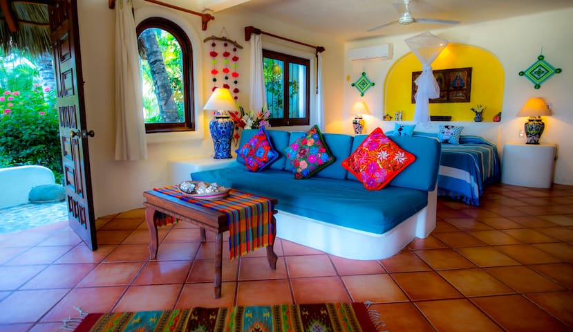 Our casitas are your own private 800-sq foot apartment.