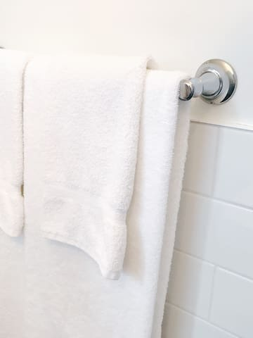 Fluffy, white bath towels