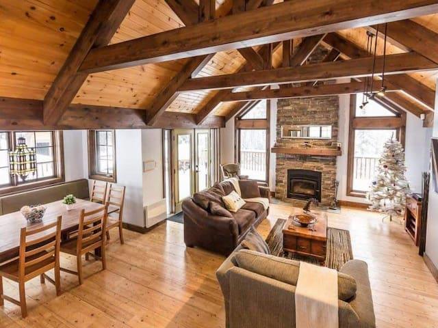 22 personnes, 6 chambres, foyer, spa, ski...