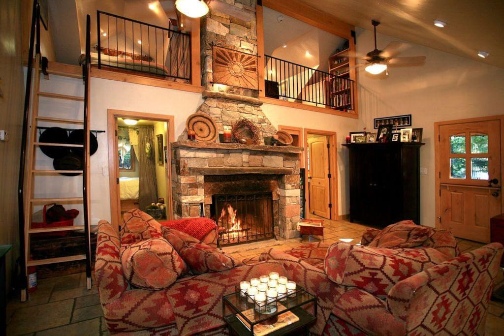 Wood burning fireplace and lo
