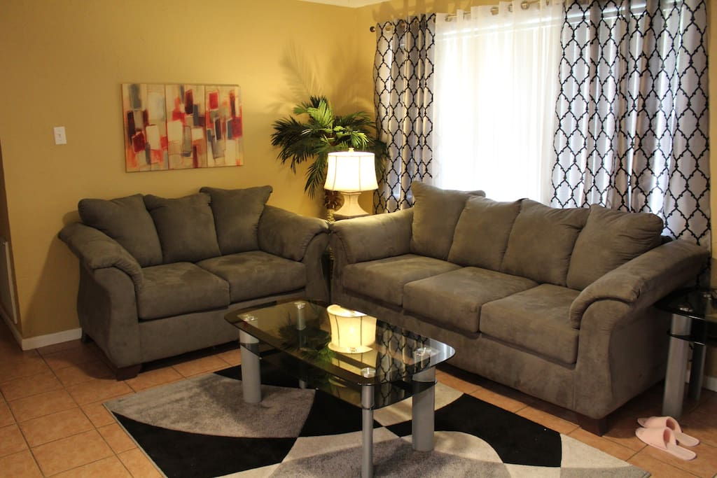 These are the couches that you see on your right when you walk inside the house.