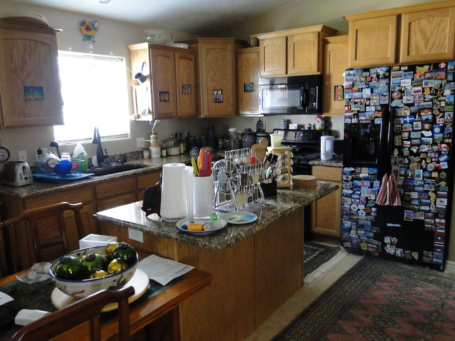 This is my kitchen: but it's right across the hall from your room, and you're welcome to use it anytime!