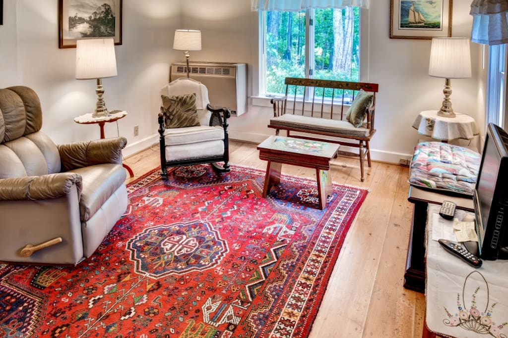 An authentic oriental rug creates a cozy air to the living room.