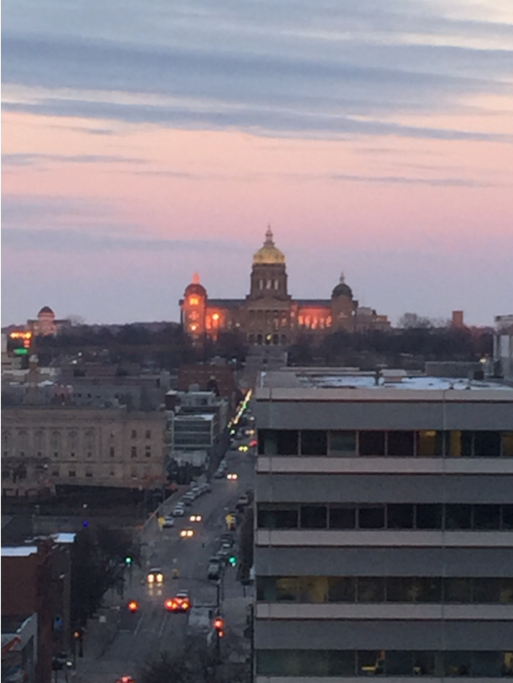 View of the State Capital Building from the living room. It's even better on the rooftop patio.