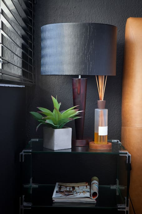 """Bedside ensemble and room  diffuser. More mood creators for your """"Big Night in"""""""