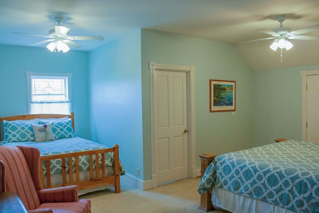 King bed, Queen bed, Private bathroom and sitting area.