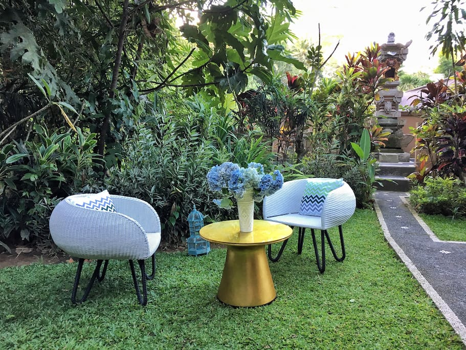 Relax in the Balinese jungle garden with all new designer furniture!
