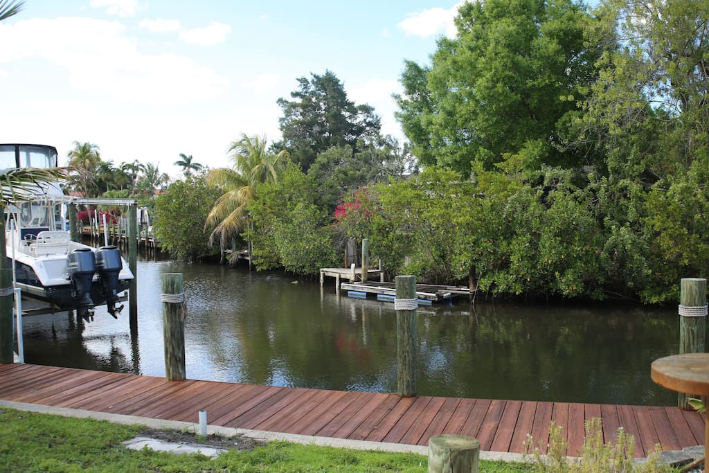 This is the private dock and canal from the backyard.