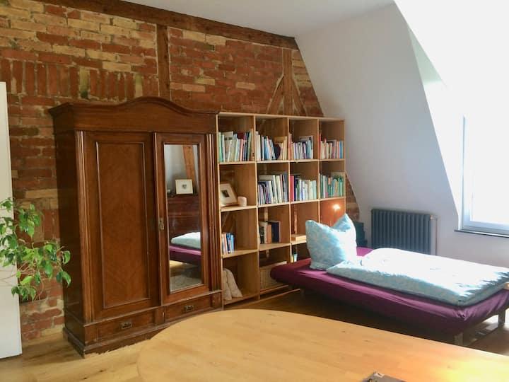 Sonniges Altbau Zimmer mit Blick ins Grüne