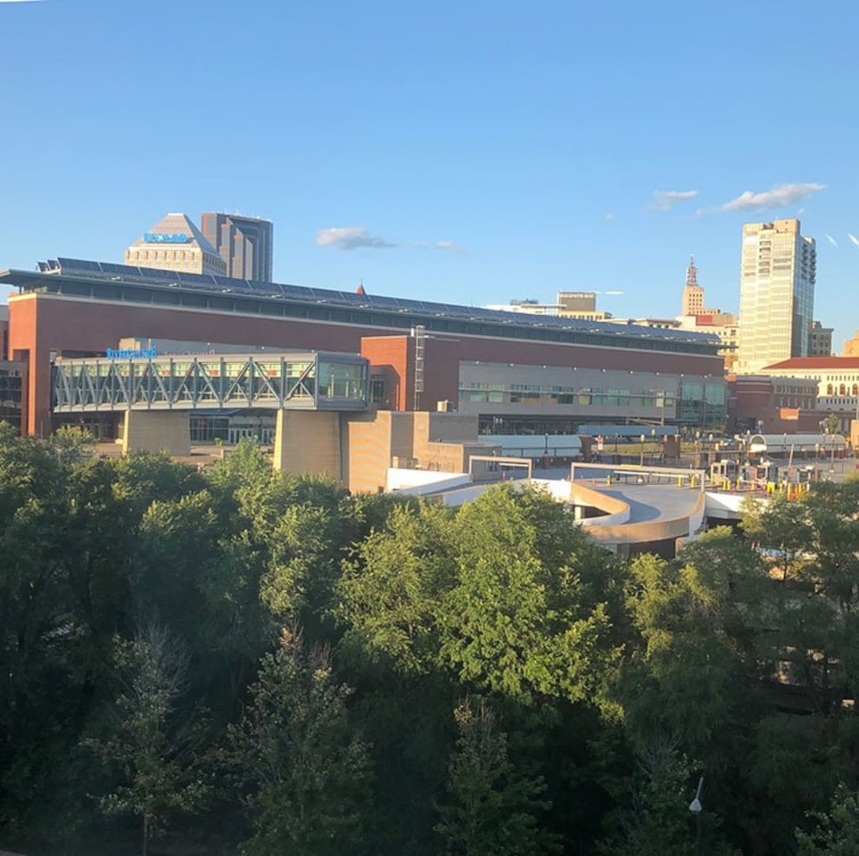 The studio has a neat view of Downtown St Paul.