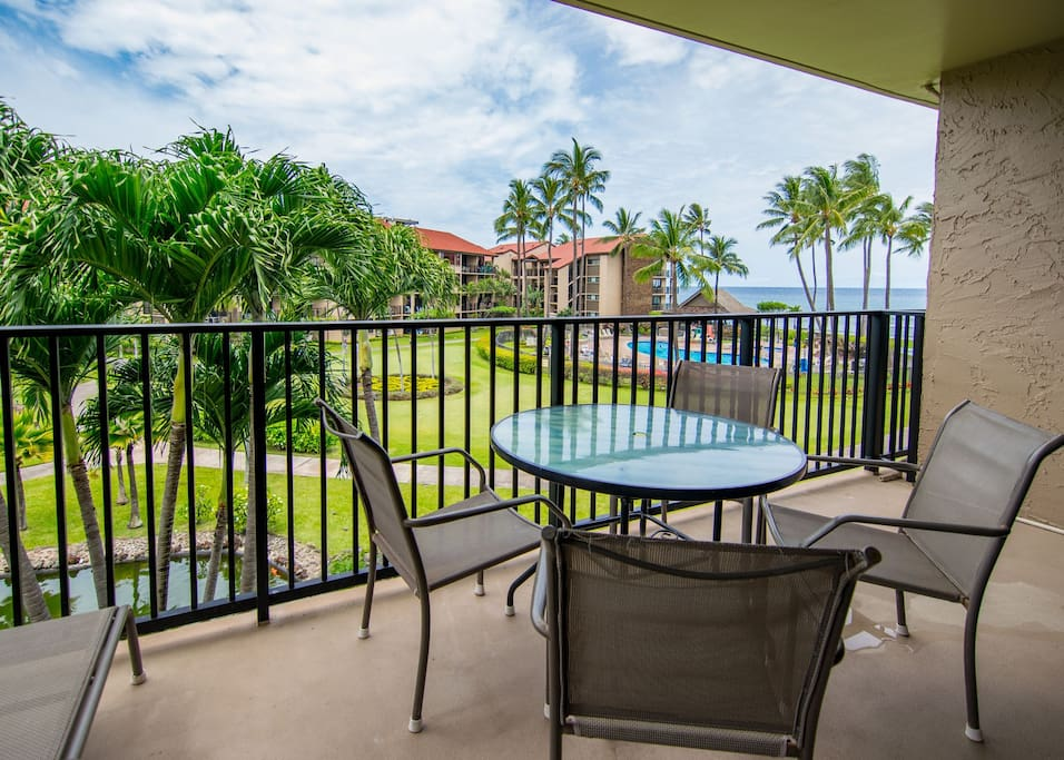 Spacious private lanai with ocean views