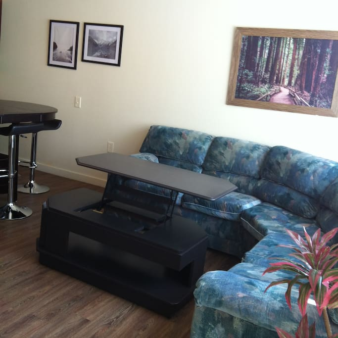 Living area with large couch and coffee table