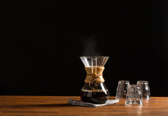 Pour-over Chemex, French Press and Virtuoso coffee grinder for better mornings!
