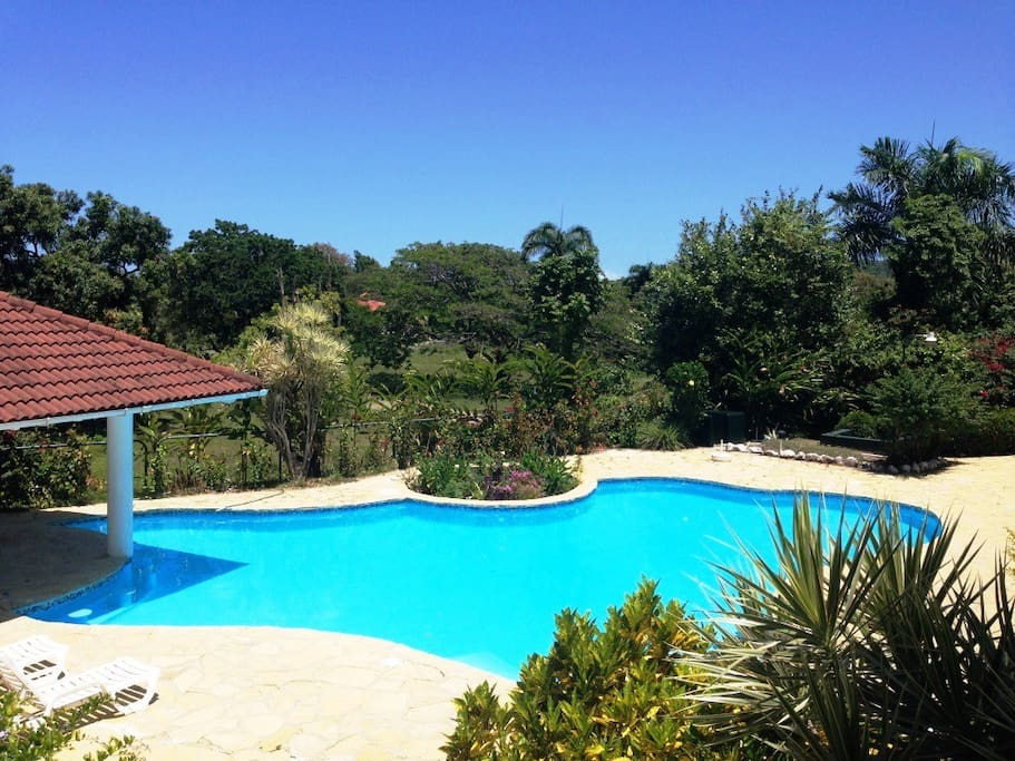 Poolbereich mit  überdachtem Poolhaus