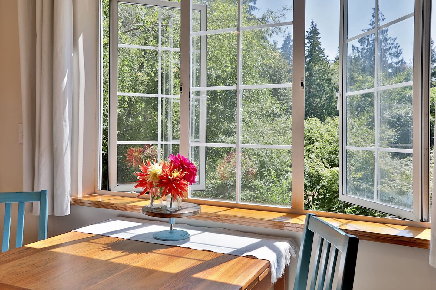 Looking out the window, there is a large yard. In the distance, a partial view of the Lapis Lane Cabin can be seen. The Cabin can be rented along with the Guesthouse for larger gatherings.