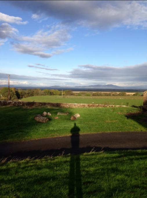 the view of the Solway Coast and Scotland fron Hayton Castle.