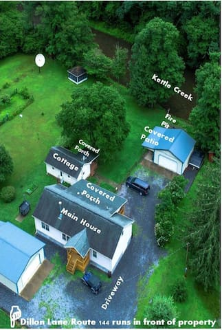 Property shown and labeled via drone