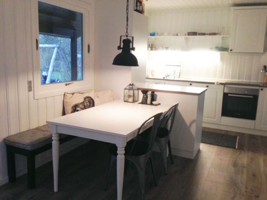 Dining area with pull out table