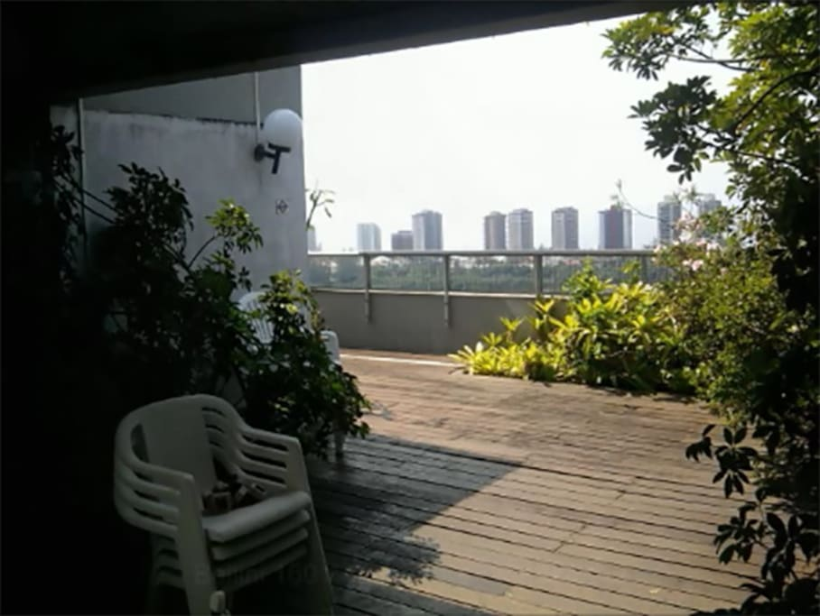 Wooden deck and sea view