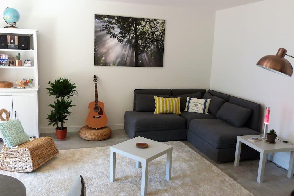 La pièce à vivre et le canapé avec deux lits une place