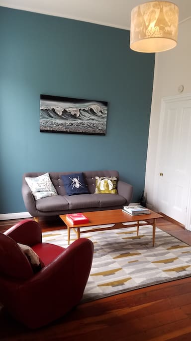 Lounge with some interesting art