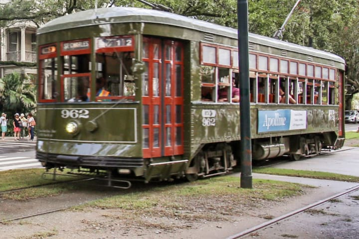 Street Car goes downtown to French Quarter and uptown to Audubon Park. Runs 24/7