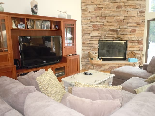 Living Room with couch, TV & working gas fireplace