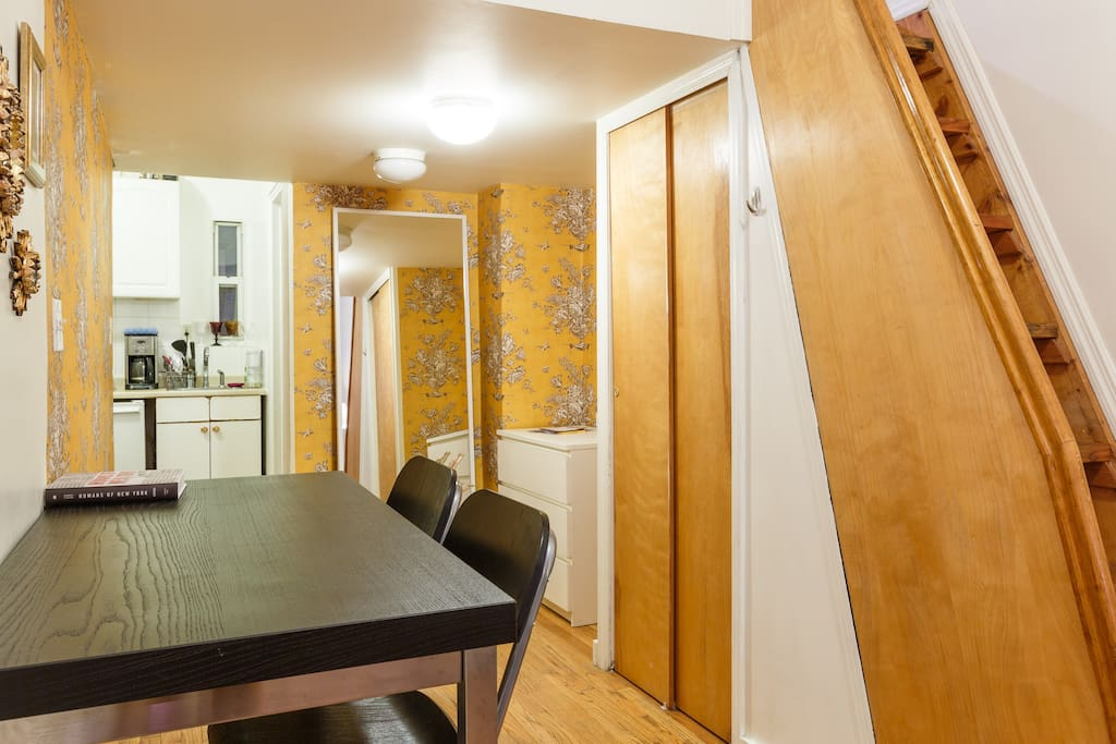Dining and working area. Large mirror, drawer and closet, iron, hangers, extra towels. We have everything you may need for your stay.