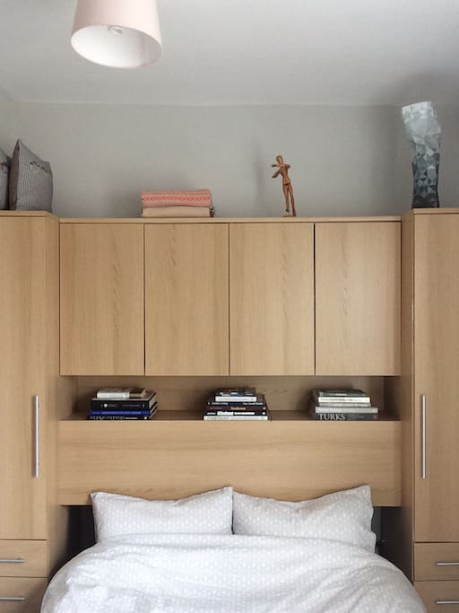 Wardrobe in use but space can be made available for longer stays..