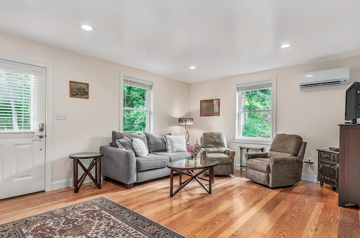 Living room overlooking gardens and woods, includes full-size sofa-bed.