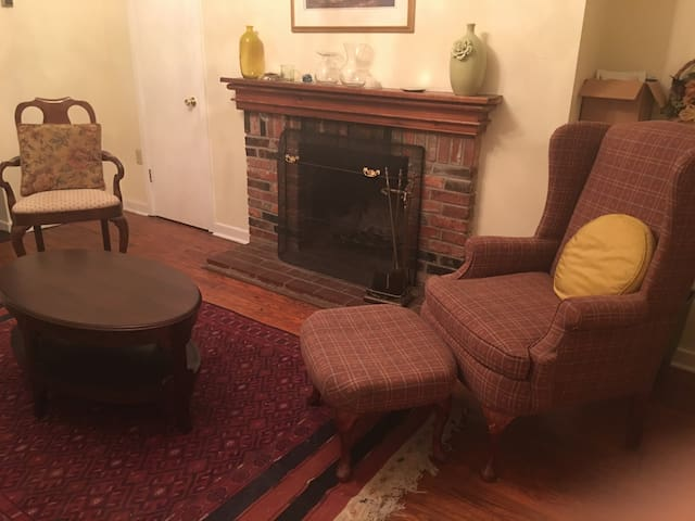Cozy shared living room with working fireplace in historic property