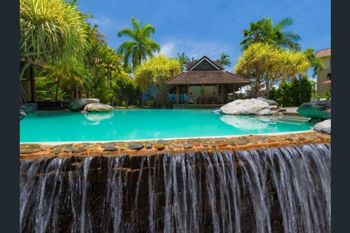 Waterfalls from pool area