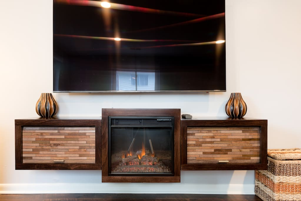 "65"" 4K TV & Floating  Electric Fireplace Console"
