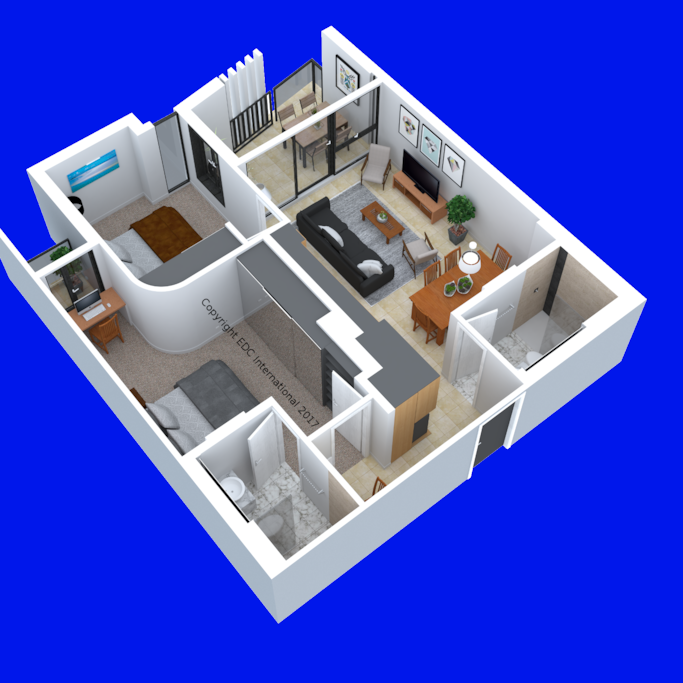 3D Apartment Model Angle #2. Furniture is indicative