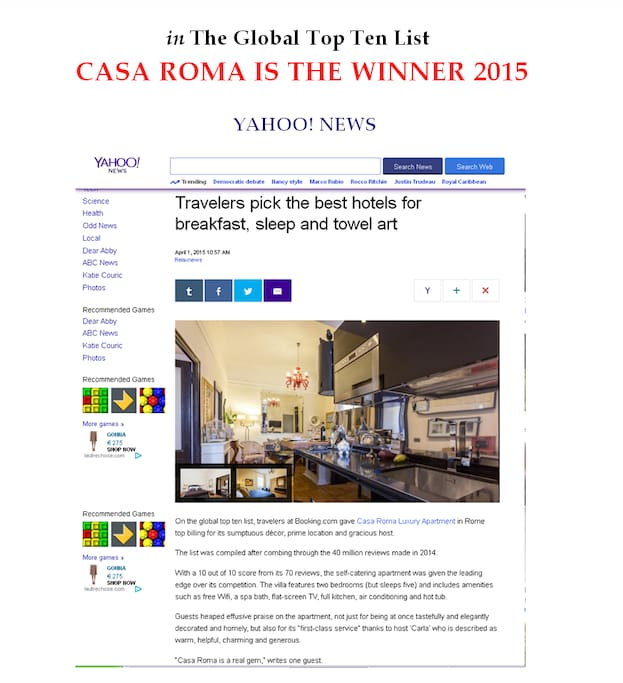 The apartment, nominated Casa Roma Luxury Apartment, is the global winner 2015!!! For the best rate, please, contact us!