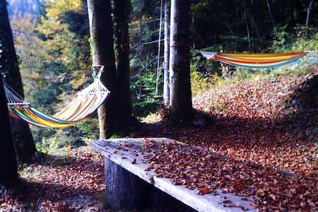 Maisonnette sous les arbres + Baignoire Extérieure