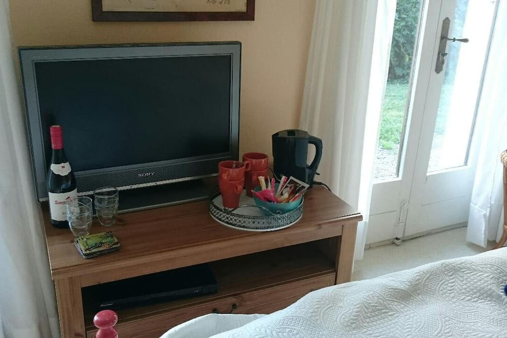 With a tv, dvd player, water cooker and coffee/tea on your room