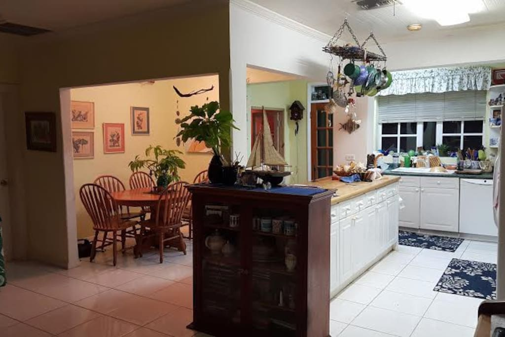 Here's your dining area & shared kitchen.
