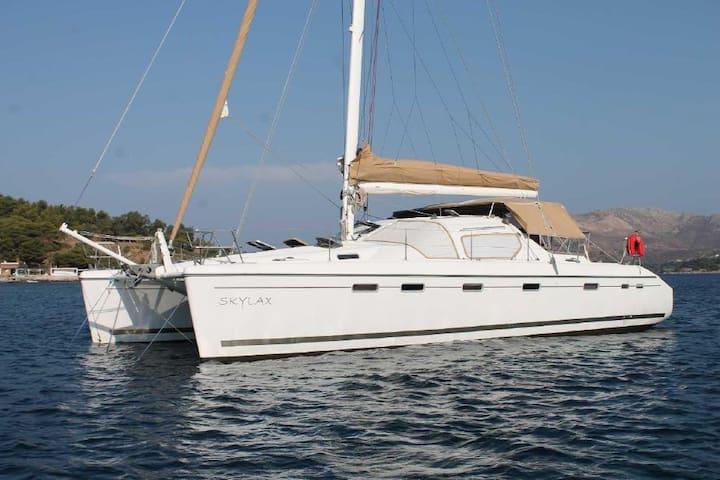 Catamaran with skipper in Greek islands