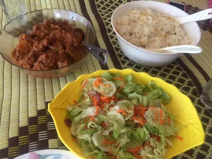 Swahili Goat Biriyani with fresh salad
