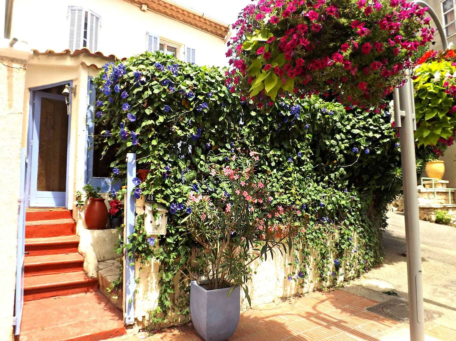 Fisherman's Cottage, a typical ''provencal maison de village'' with a floral terrace. 50 meters from the beach