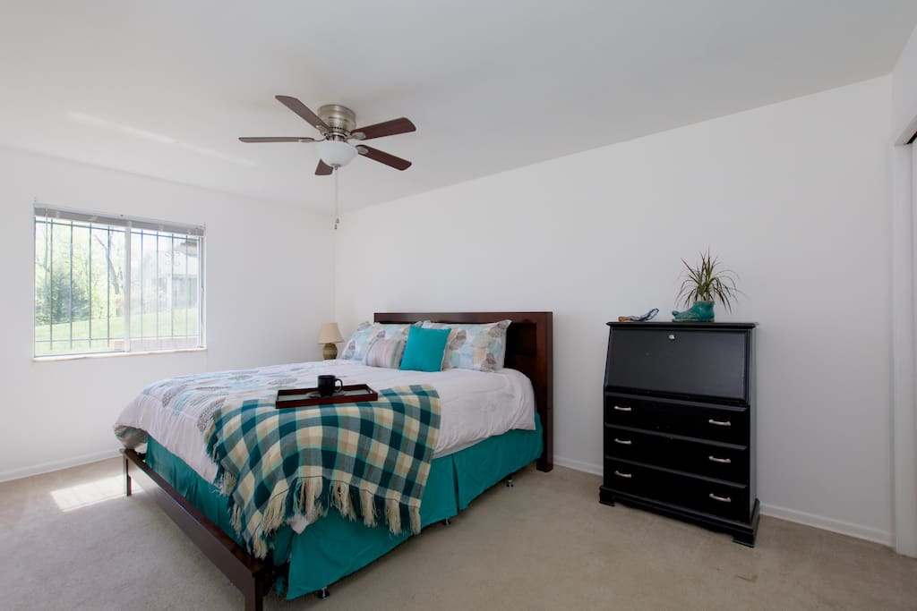 Master bedroom (King size bed), ceiling fan, desk, closet (can also provide queen air mattress as needed)