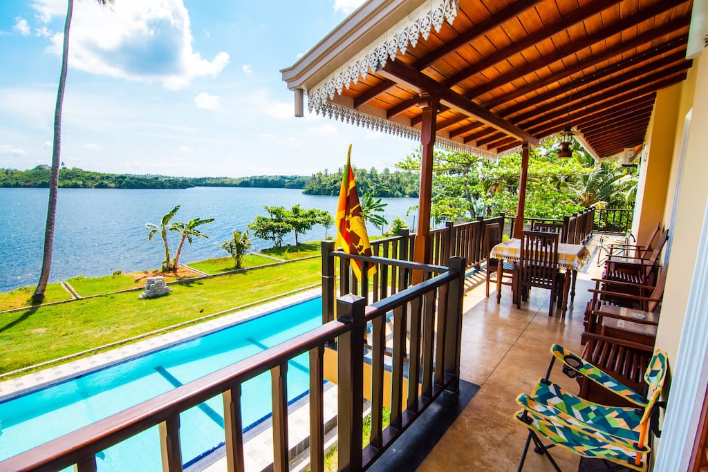 balcony with chill out zone facing picturesque lagoon view