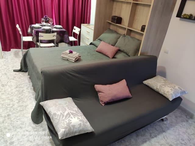 cama vertical y sofá. zona de dormir y relax