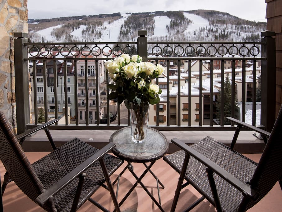 Breathe in the fresh alpine air from the private balcony.