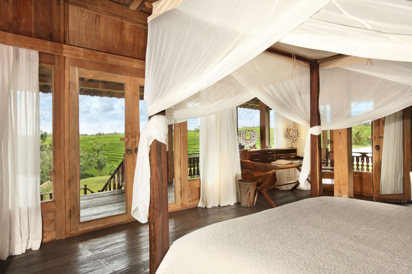 Have your immense view yet private ambience from this special bedroom