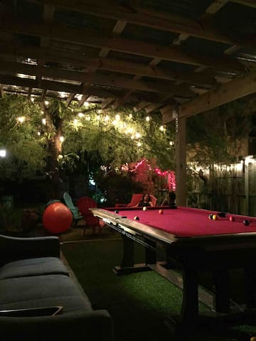 Terrace with pool table