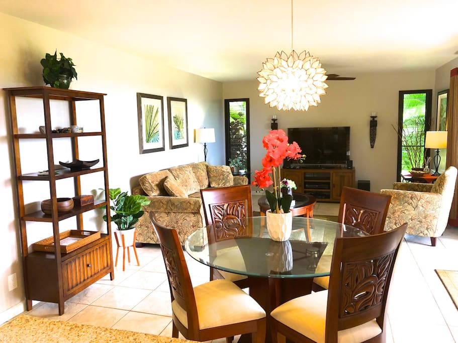 Open and Bright Living room with new living and dining room furniture