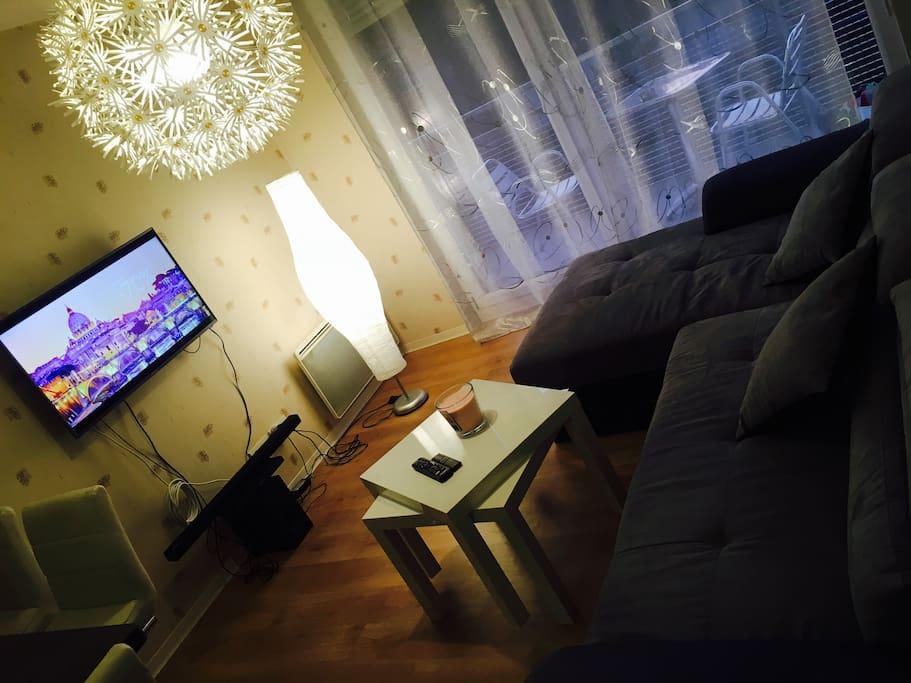 SALON avec TV au mur