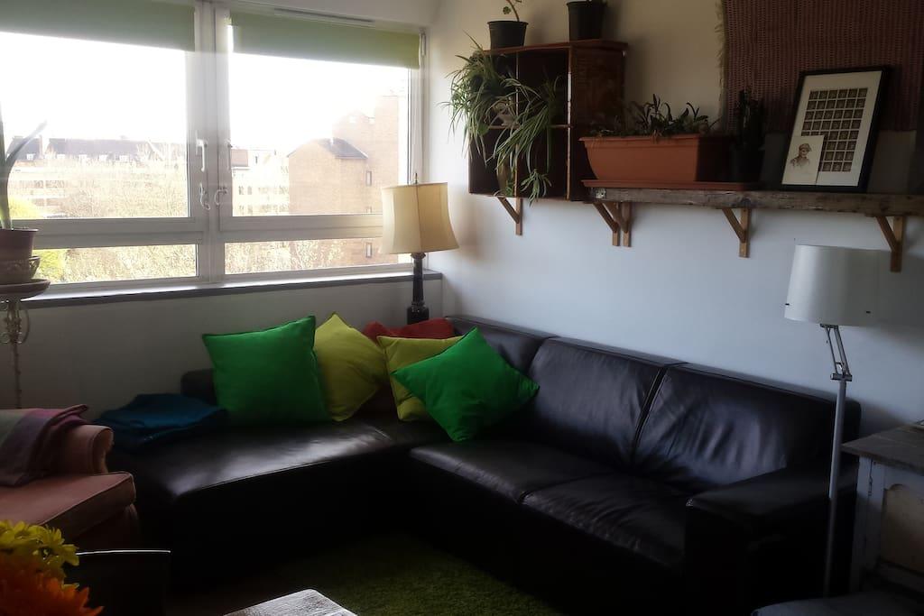 Bright living room with comfy corner sofa
